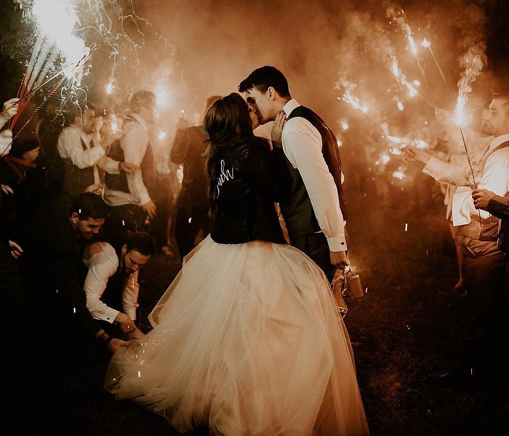 Sparklers in the night at Stella Plantation reception