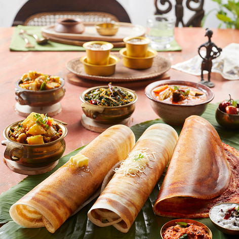Tamil NaduKarnataka-Masala Dosa Platter.