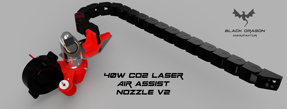 40W CO2 Laser Air Assist Nozzle v2 with energy chain