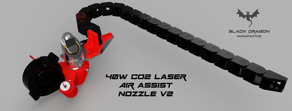 40W CO2 Laser Air Assist Nozzle v2 mit energiekette