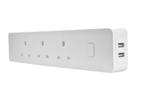 Smart Power Distribution Unit-3 sockets with 2 USBs -ABS+PC (Flame retardant)