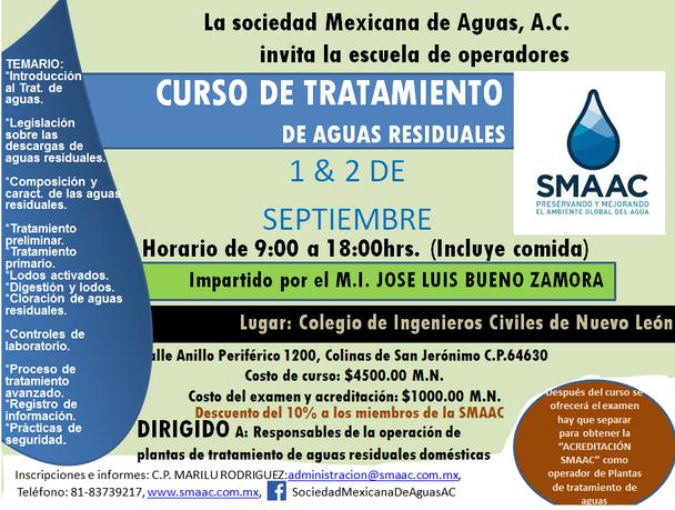 CURSO DE TRATAMIENTO DE AGUAS RESIDUALES