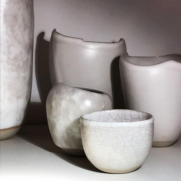 Louiselio céramiques, composition grès émaillé. Craquellures.