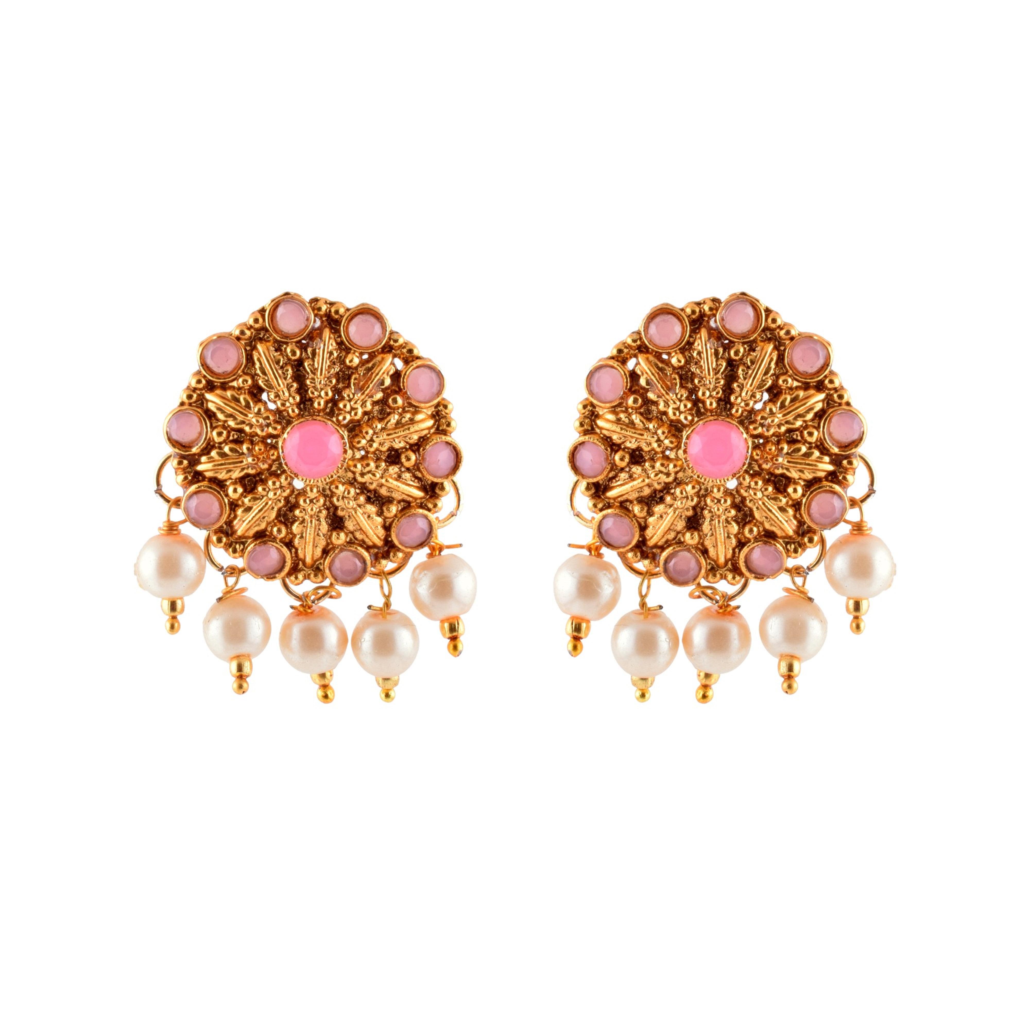 Kundan Pink Flower Golden White Pearl Designer Traditional Fusion