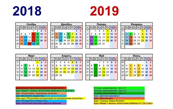 Расписание и курсы на январь 2019