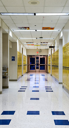 High School hallway showing student lock