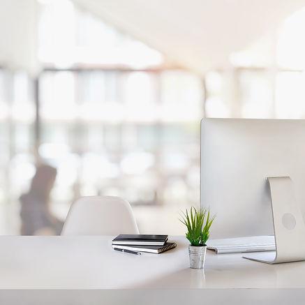 Stylish workspace with desktop computer,