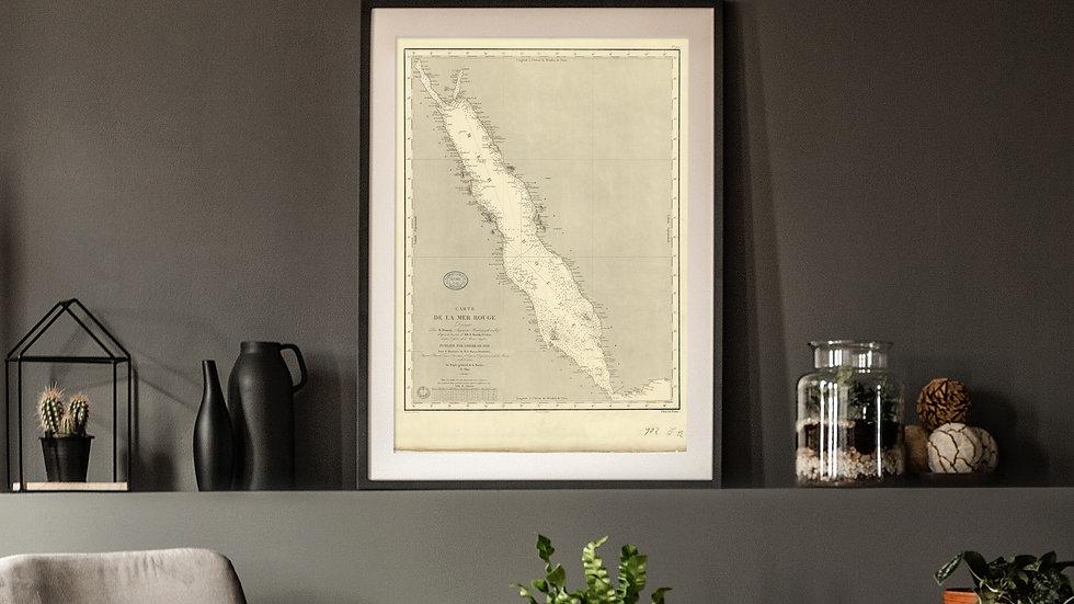 Carte marine ancienne de la mer Rouge