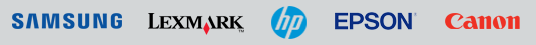 Printer ink and toner cartridges for all these major printer brands.