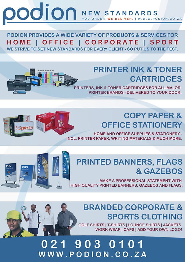 Products & Services in South Africa for Corporate or Sports events.
