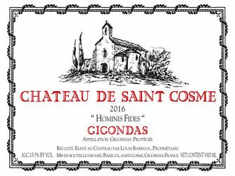 Saint Cosme Gigondas Hominis Fides 2016 rates 100 points