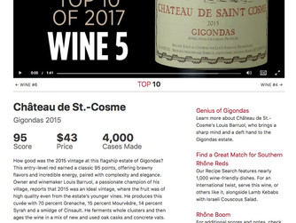 St Cosme Gigondas 2015 in the Top 5 of The Wine Spectator