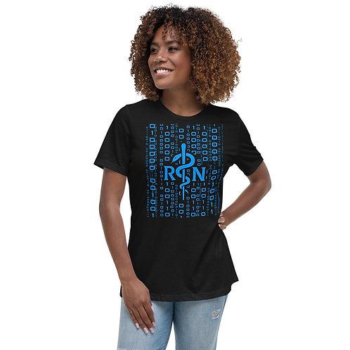 Nursing Informatics - Women's Relaxed T-Shirt- Blue  Asclepius