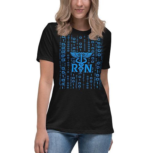 NURSING Informatics - Women's Relaxed T-Shirt-Blue Caduceus