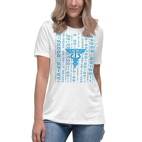 Women's HEALTH Informatics - Relaxed T-Shirt- Blue Caduceus