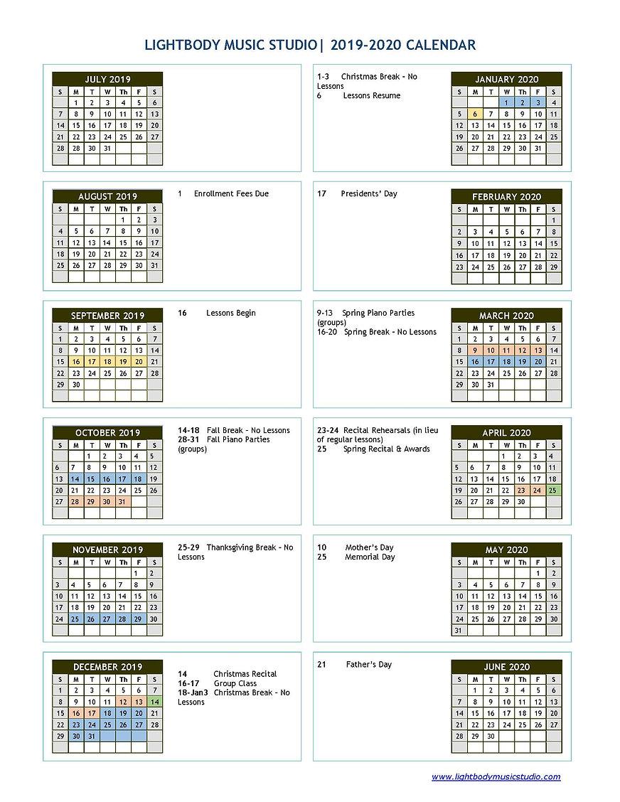 2019-2020 Studio Calendar - Lightbody Mu