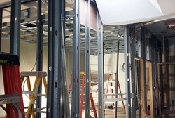 Wall frames are up. HVAC in progress
