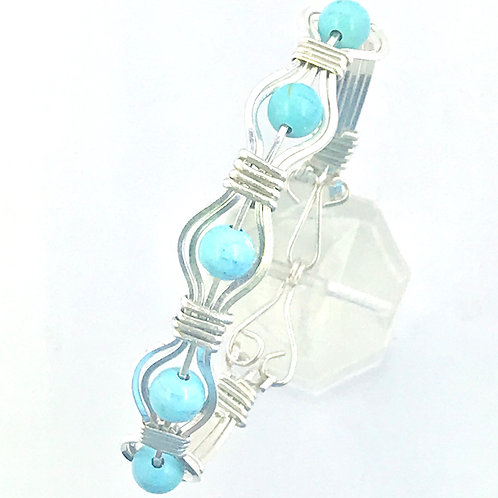 Turquoise Howlite Bead and Silver Bracelet