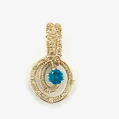 Paraiba Tourmaline Faceted Stone in Gold-Filled Wire