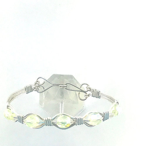 Lemon Yellow Crystal Bead and Silver Brace