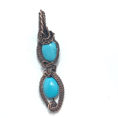 Two Turquoise Howlite Beads in Antique Copper Wire