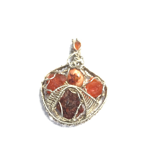 Fire Opals and Red Calcite in Sterling Silver