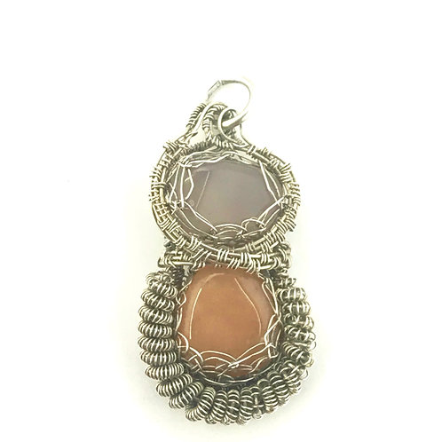 Amethyst and Butterscotch Agate in Sterling Silver