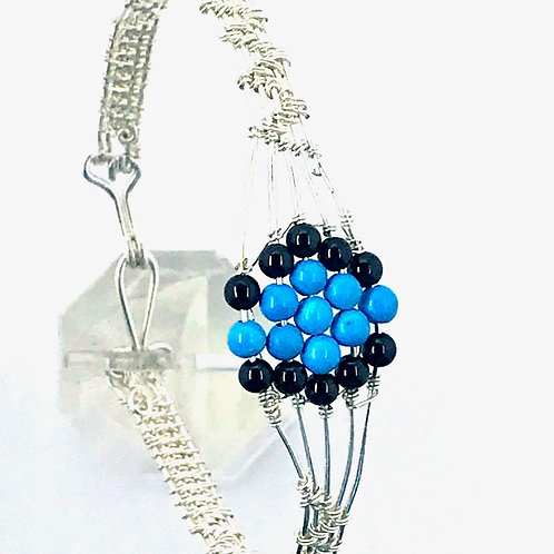 Weaved Sterling Silver wire w Turquoise Howlite/ black glass beads
