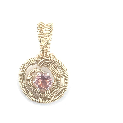 Morganite Faceted Stone in Gold-Filled Wire