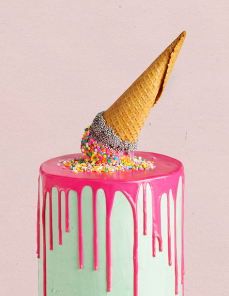 Buttercream Birthday Drip cake topped with Ice cream topper and confetti sprinkles