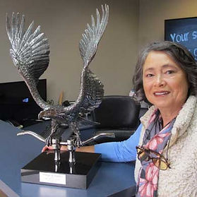 Eagle Sculpture and Celia .jpg