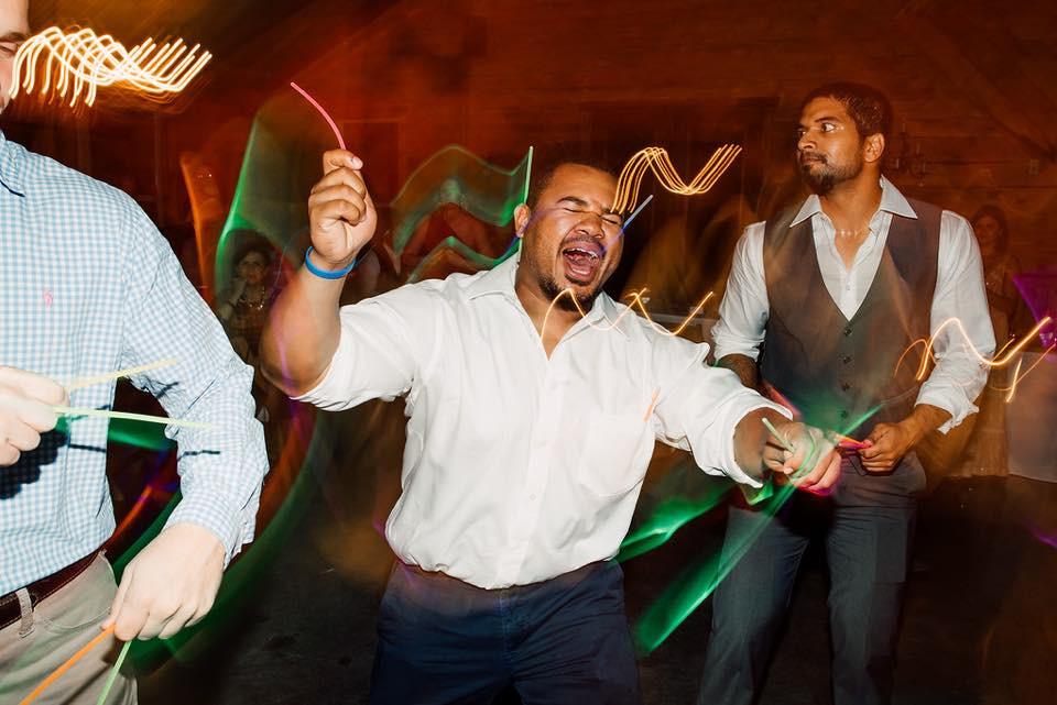 Wedding reception, wedding party, glow sticks