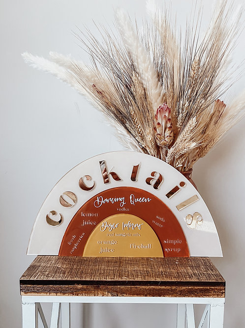 Arched, Layered Signature Cocktail Sign