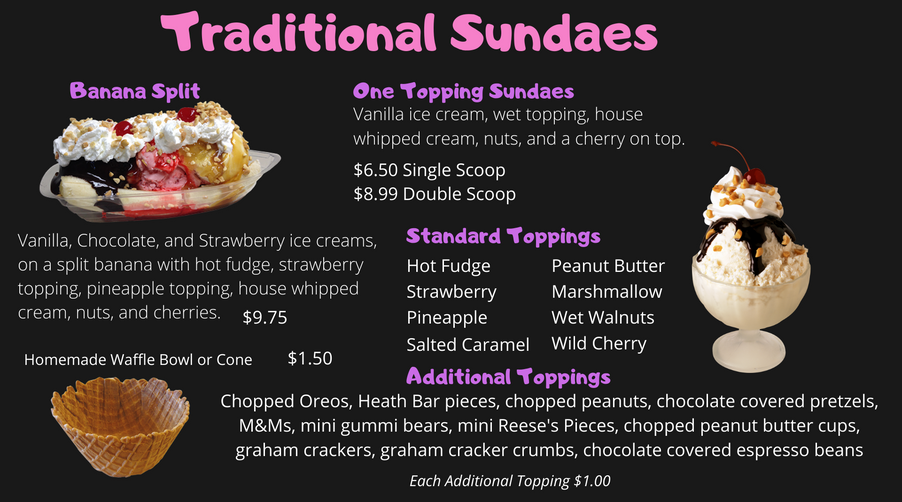 Menu Traditional Sundaes