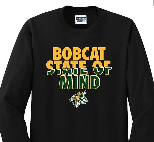 "Black ""Bobcat State of Mind"" Long Sleeved Tshirt"