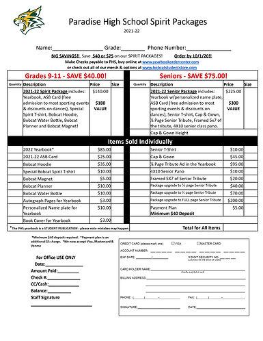 Spirit Package for grades 9-11