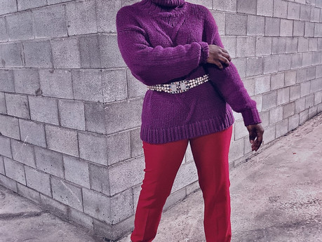 EN ROUGE ET ROSE OU VIOLET..J'AFFICHERAI... ROSES ARE RED, VIOLETS ARE 'PURPLE' AND MY OUTFIT IS...