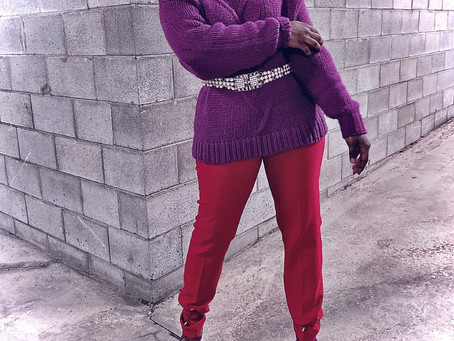 EN ROUGE ET ROSE OU VIOLET..J'AFFICHERAI...|ROSES ARE RED, VIOLETS ARE 'PURPLE' AND MY OUTFIT IS...