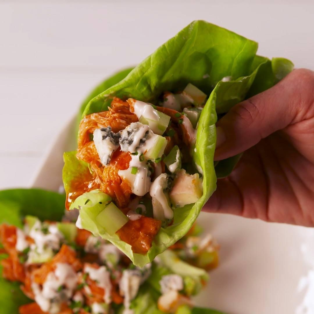 Delish Buffalo Chicken Lettuce Wraps