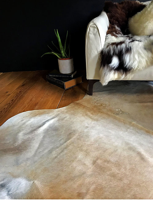 Natural Cream Coloured Cow Hide Rug