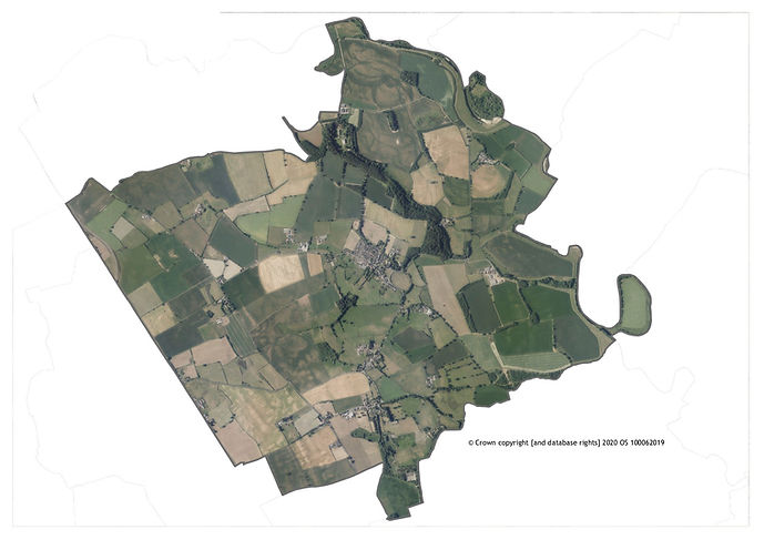 Kirkby Fleetham with Fencotes Parish Boundary Aerial Map