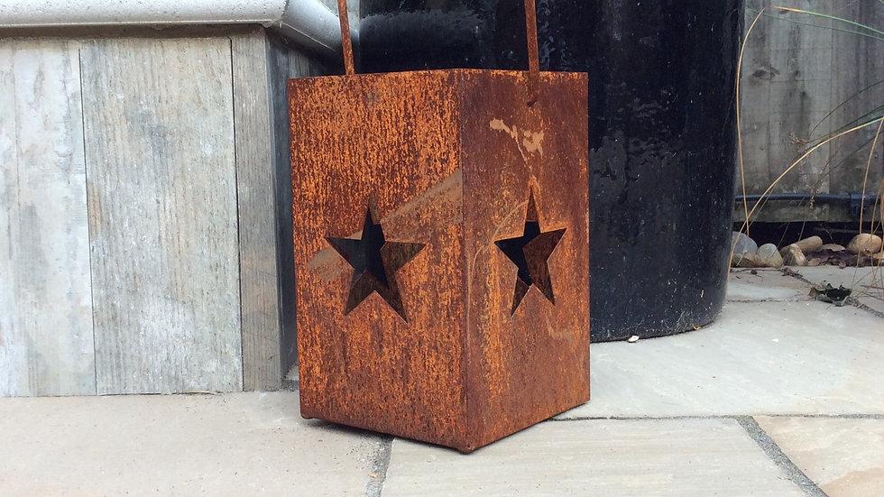Rustic lantern. 30cm high 19cm wide and 19cm deep.