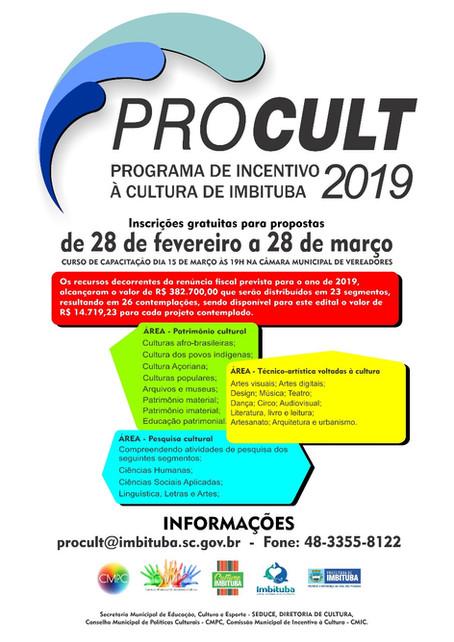 MAIS DE R$ 380 MIL PARA A CULTURA DE IMBITUBA NO PROCULT/2019