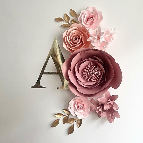 Flower Set with Initial Name