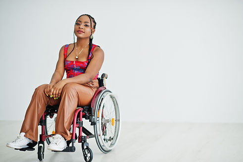 Young Afro American women in Wheelchair