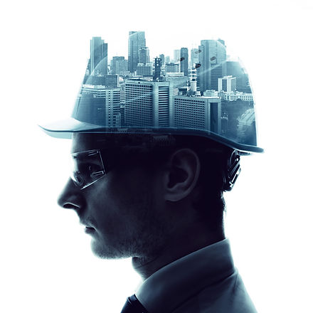Double exposure of a engineer and urban