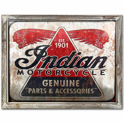 Indian Motor Oil 44cm x 34cm Wood Framed Metal Art