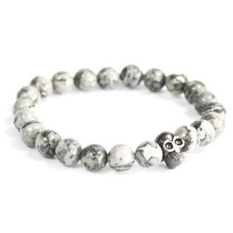 Pewter skill / grey agate bracelet