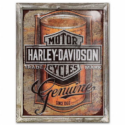 Harley Vintage 44cm x 34cm Wood Framed Metal Art