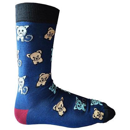 Ladies 'Raining cats & dogs' bamboo socks size 4-7